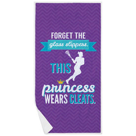 Girls Lacrosse Premium Beach Towel - This Princess Wears Cleats