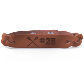 Guys Lacrosse Leather Engraved Bracelet Crossed Sticks with Number