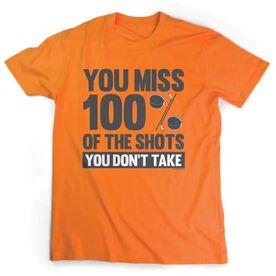 Hockey Tshirt Short Sleeve You Miss 100% of the Shots You Don't Take (w/ Pucks)