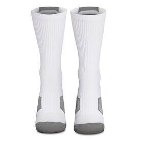 Team Number Woven Mid-Calf Socks - White/Gray