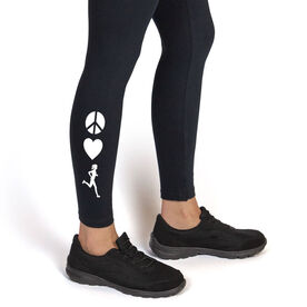Running Leggings - Peace Love Runner Girl (Symbols)