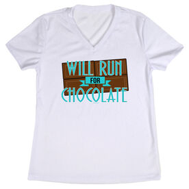 Women's Customized White Short Sleeve Tech Tee Will Run For Chocolate (Deco)