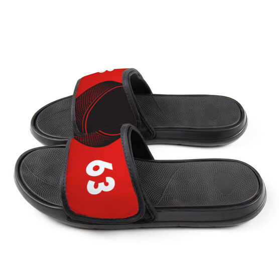 Hockey Repwell® Slide Sandals - Puck and Number Reflected