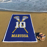 Girls Lacrosse Premium Beach Towel - Personalized Player with Crossed Sticks