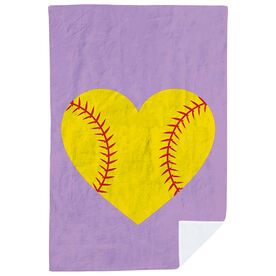 Softball Premium Blanket - Stitched Heart
