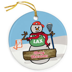 Guys Lacrosse Porcelain Ornament Snow Bro with Merry Christmas
