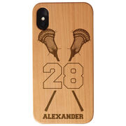 Guys Lacrosse Engraved Wood IPhone® Case - Personalized Crossed Sticks