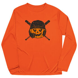 Baseball Long Sleeve Performance Tee - Helmet Pumpkin