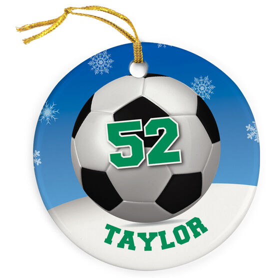 Soccer Porcelain Ornament Personalized Soccer Ball with Winter Background