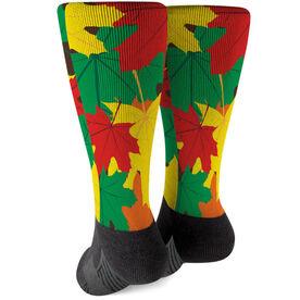 Printed Mid-Calf Socks - Fall Leaves