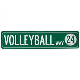 "Volleyball Aluminum Room Sign - Volleyball Way With Number (4""x18"")"