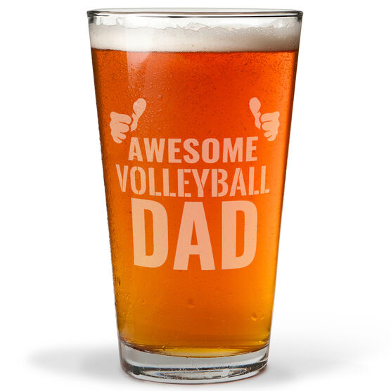 16 oz. Beer Pint Glass Awesome Volleyball Dad