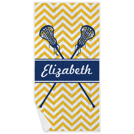 Girls Lacrosse Premium Beach Towel - Personalized Sticks Chevron