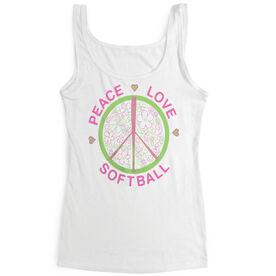 Softball Women's Athletic Tank Top Peace Love Softball Flowers