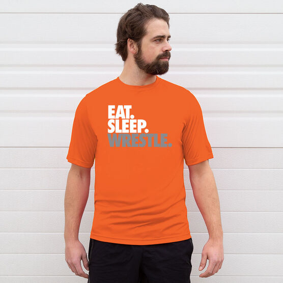 Wrestling Short Sleeve Performance Tee - Eat. Sleep. Wrestle.