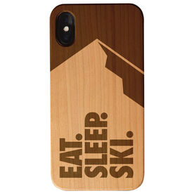 Skiing Engraved Wood IPhone® Case - Eat. Sleep. Ski.