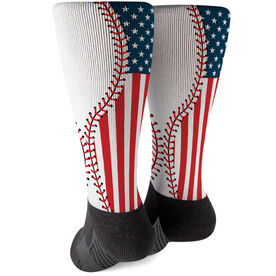 Baseball Printed Mid-Calf Socks - American Flag Ball