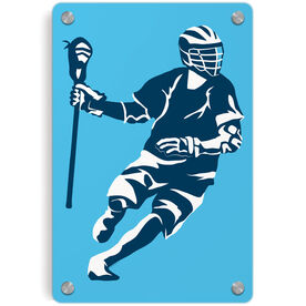 Guys Lacrosse Metal Wall Art Panel - Dodger Silhouette