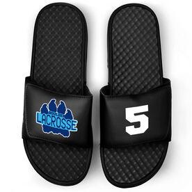 Guys Lacrosse Black Slide Sandals - Logo and Big Number