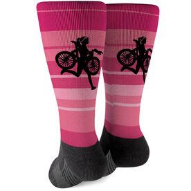 Triathlon Printed Mid-Calf Socks - Female Triathlete