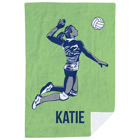 Volleyball Premium Blanket - Personalized Silhouette with Volleyball