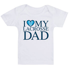 Guys Lacrosse Baby T-Shirt - I Love My Lacrosse Dad