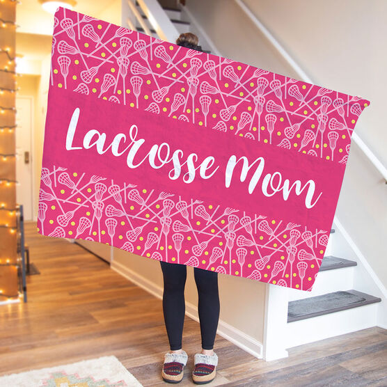 Girls Lacrosse Premium Blanket - Mom Stripe