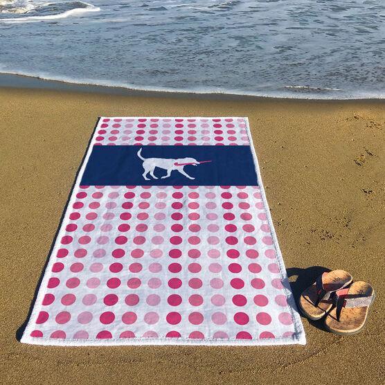 Field Hockey Premium Beach Towel - Dog Dots