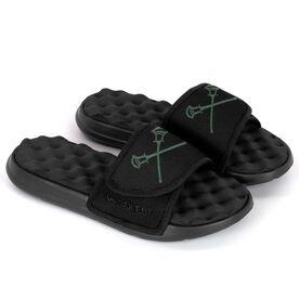 Guys Lacrosse PR SOLES® Adjustable Strap Recovery Slide Sandals - Crossed Sticks