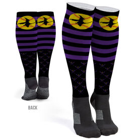 Softball Printed Knee-High Socks - Witch Riding Softball Bat