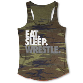Wrestling Camouflage Racerback Tank Top -  Eat Sleep Wrestle (Stack)