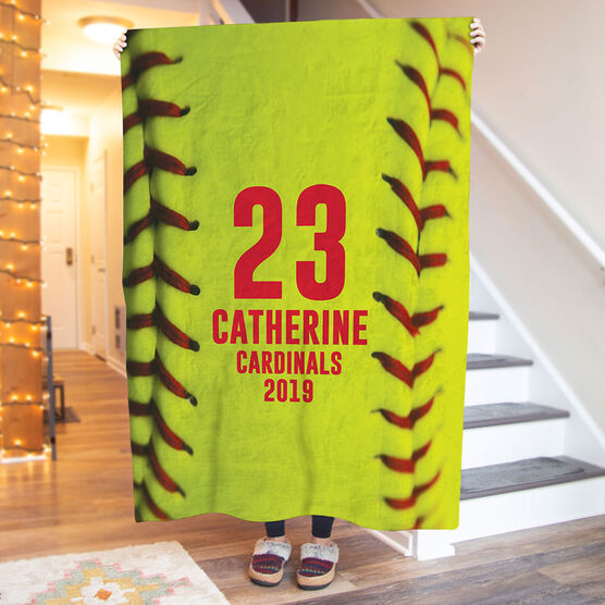 Softball Premium Blanket - Personalized Stitches (Vertical)