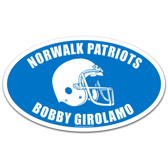 Personalized Team with Football Helmet Oval Car Magnet