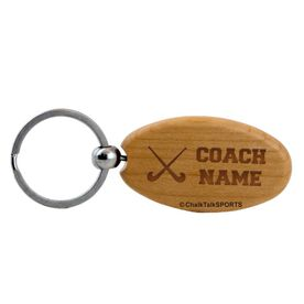 Field Hockey Coach Maple Key Chain