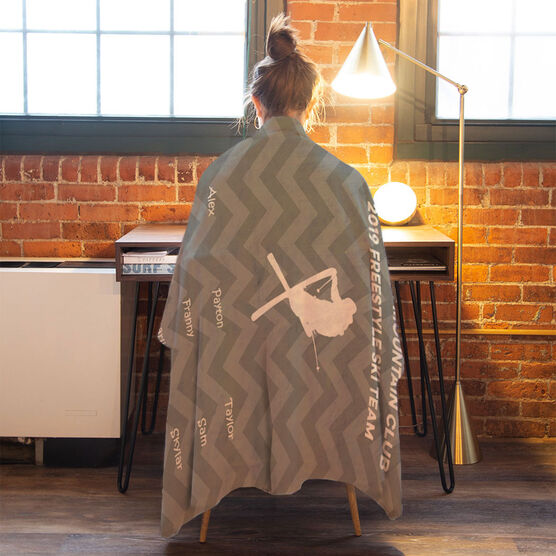 Skiing Premium Blanket - Personalized Thanks Coach Chevron