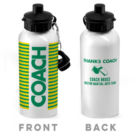 Personalized 20 oz. Stainless Steel Water Bottle - Coach With Stripes
