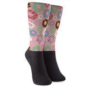 Printed Mid-Calf Socks - Donuts