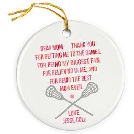 Lacrosse Porcelain Ornament - Dear Mom Heart