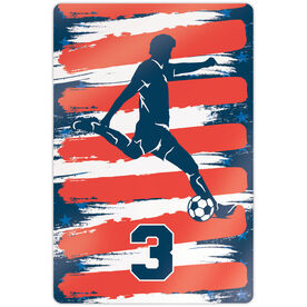 "Soccer 18"" X 12"" Aluminum Room Sign - Personalized USA Player"