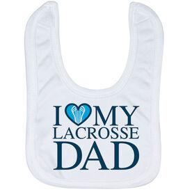 Guys Lacrosse Baby Bib - I Love My Lacrosse Dad
