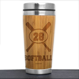Bamboo Travel Tumbler Softball Crossed Bats with Personalized Number