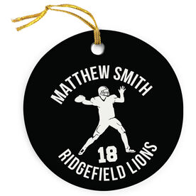 Football Porcelain Ornament Personalized Football Team with Quarterback Silhouette