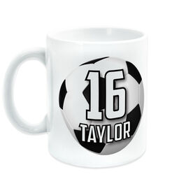Soccer Coffee Mug Personalized Big Number with Ball