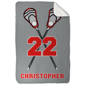 Guys Lacrosse Sherpa Fleece Blanket Personalized Crossed Sticks with Big Number