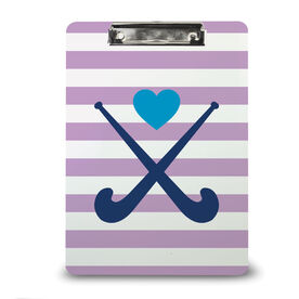 Field Hockey Custom Clipboard Field Hockey Sticks with Heart and Stripes