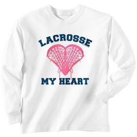 Girls Lacrosse Long Sleeve T-Shirt - Lacrosse My Heart