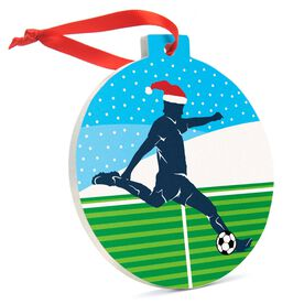 Soccer Round Ceramic Ornament - Guy Silhouette with Santa Hat