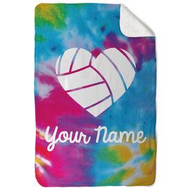 Volleyball Sherpa Fleece Blanket - Personalized Tie Dye Pattern with Heart