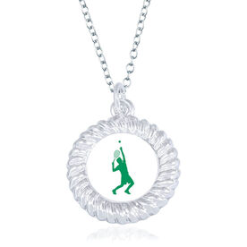Tennis Braided Circle Necklace - Male Player Silhouette