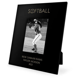Softball Engraved Picture Frame - Word